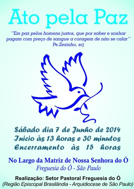 Cartaz Ato Pela Paz - 07.06.2014